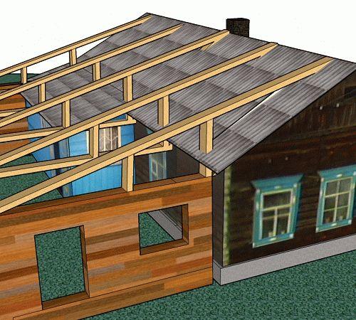 Крыша пристройка своими руками 40
