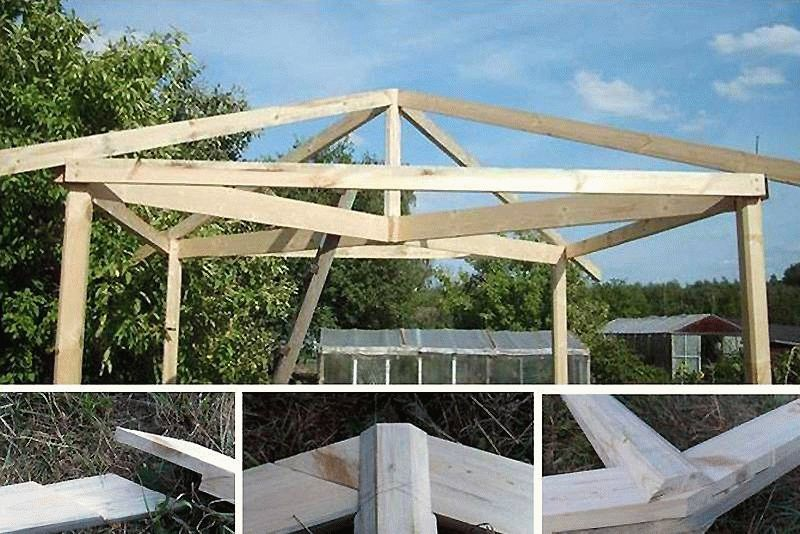 Установка стропил трехскатной крыши