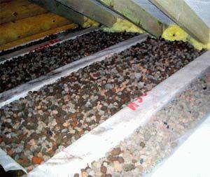 Утепление потолка в бане глиной
