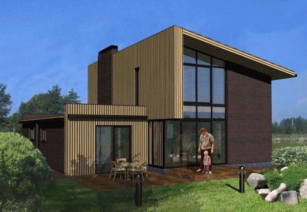 Каркасный одноэтажный дом с односкатной крышей