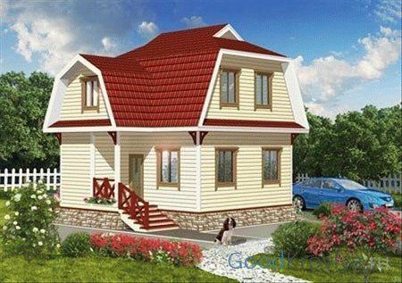 Проект мансарды с двускатной ломаной крышей